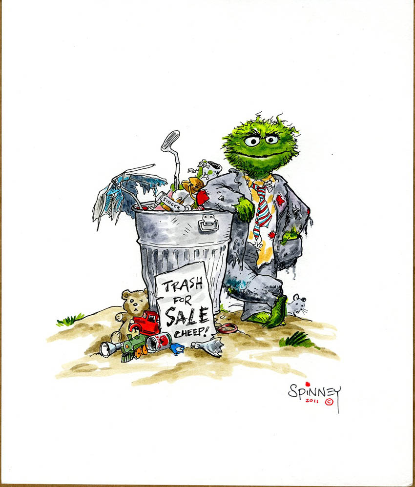 Details About Caroll Spinney 8 X10 Original Art Oscar The Grouch Trash Can Watercolor Psa Dna