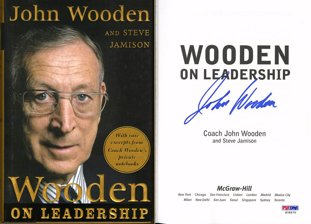Details About Coach John Wooden Signed Wooden On Leadership Hc 1st Ed Psadna Autographed Ucla