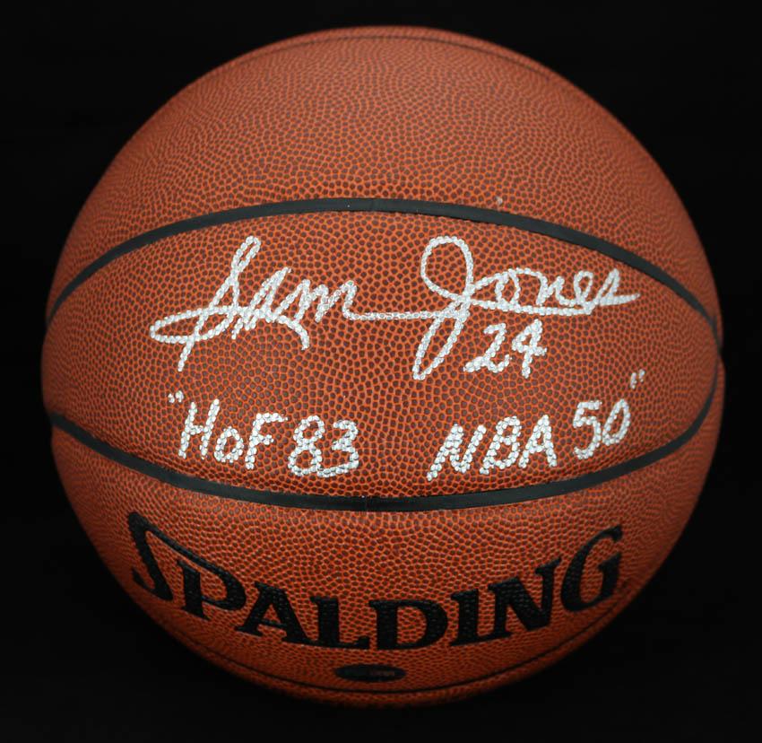ab95c934b918e Details about Sam Jones SIGNED I/O Basketball Boston Celtics HOF 83 NBA 50  PSA/DNA AUTOGRAPHED