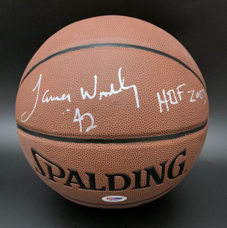 cb50c1af7d68b Details about James Worthy SIGNED I/O Basketball Lakers + HOF 03 NBA Champ  PSA/DNA AUTOGRAPHED