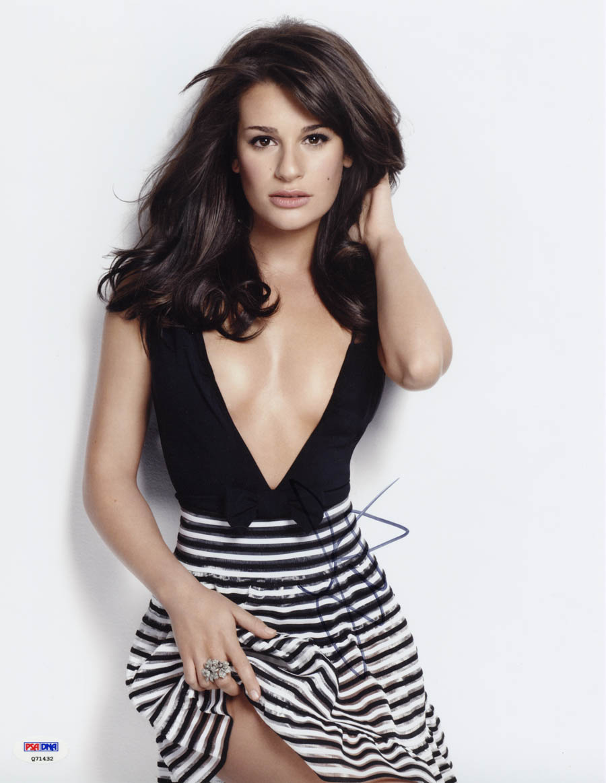 Lea Michele Signed 11x14 Photo Mayor Scream Queens Glee Sexy Psa