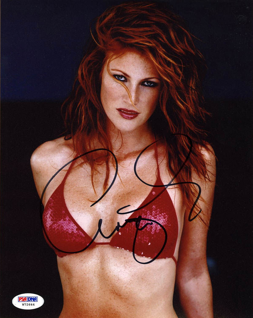 angie everhart signed 8x10 photo playboy sexy *hot* psa/dna
